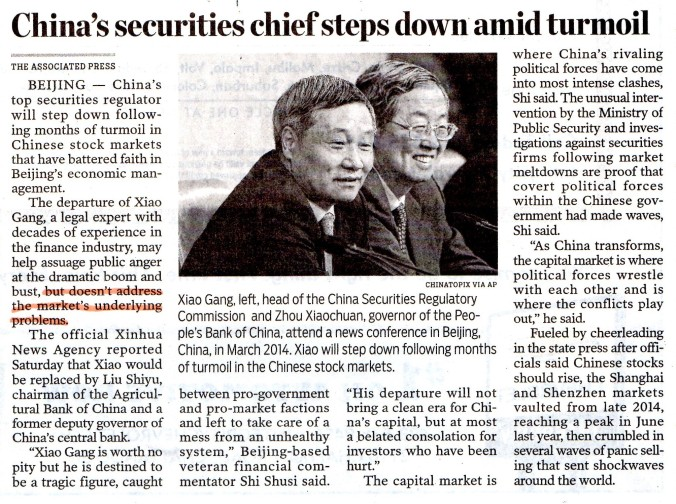 China- Securities Chief Steps Down-001